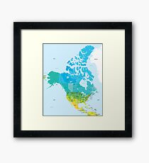 Map of the USA and Canada Framed Print
