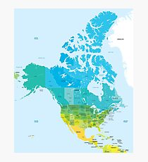 Map of the USA and Canada Photographic Print