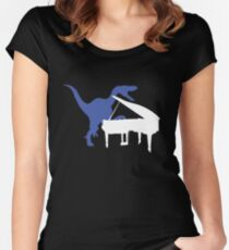 Velociraptor Playing Piano Women's Fitted Scoop T-Shirt