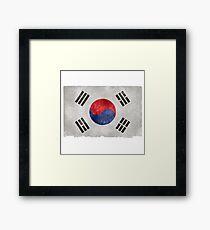 South Korean Flag Grunge Effect Framed Print