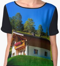 Guesthouse in calm place, mountains and nature, Austria, tourism concept Chiffon Top