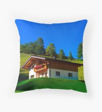 Guesthouse in calm place, mountains and nature, Austria, tourism concept Throw Pillow