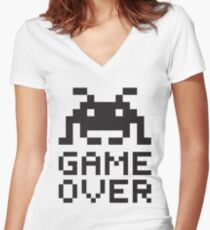 Game over / Pixel art invader Women's Fitted V-Neck T-Shirt