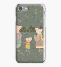 Cute Christmas Mice Family Winter Scene iPhone Case/Skin