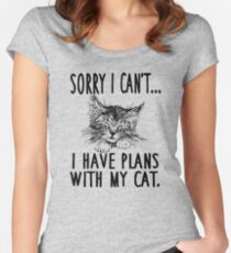 Sorry I Can't I Have Plans With My Cat Women's Fitted Scoop T-Shirt