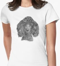 Poodle - black Women's Fitted T-Shirt