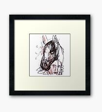 """Black Horse with Amerindian Kid"" Original Art Drawing by Alice Iordache Framed Print"