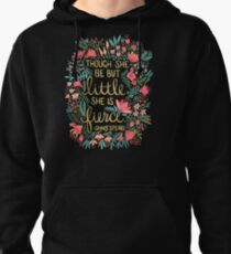 Little & Fierce on Charcoal Pullover Hoodie