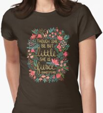 Little & Fierce on Charcoal Womens Fitted T-Shirt