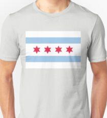 Chicago Flag Pattern Sky Blue Stripes Red Stars Unisex T-Shirt
