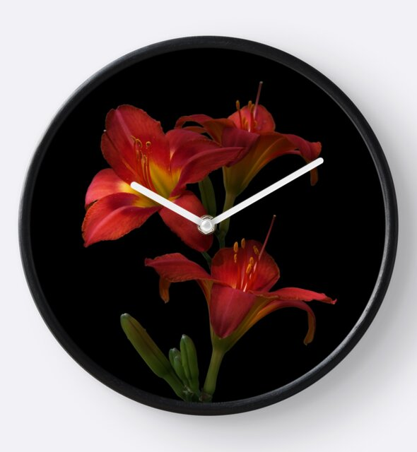 Studio Dalio - Red Lily Flowers Clock