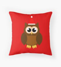 A Very Hooty Christmas (no text) Throw Pillow
