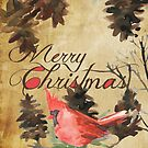 Merry Christmas Cardinal and Pine Cones by peacockcards