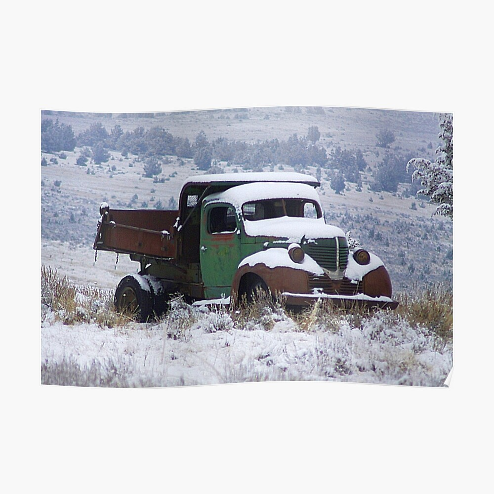 Vintage Dump Truck in the Snow Poster
