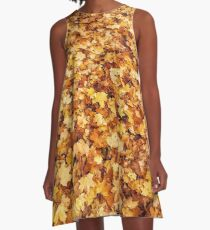 Gold yellow fall maple leaves A-Line Dress