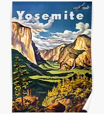 Vintage Yosemite National Park California Travel Poster