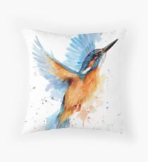 Kingfisher watercolour Throw Pillow