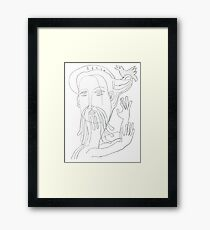 """Jesus with Love Dove"" Original Art Drawing by Alice Iordache Framed Print"