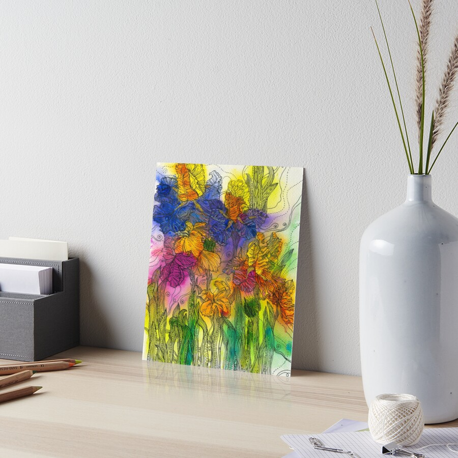 Beautiful Irises Art Board Print