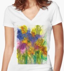 Beautiful Irises Fitted V-Neck T-Shirt
