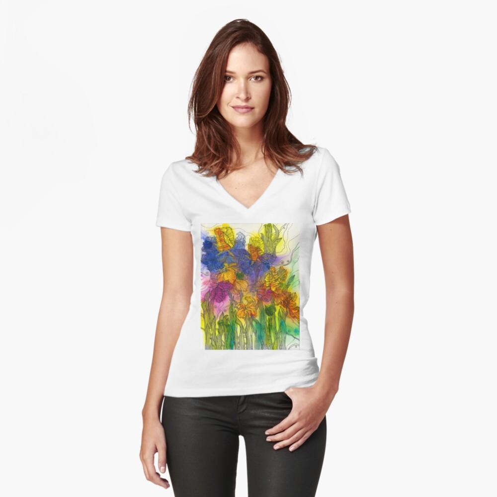 Beautiful Irises Fitted V-Neck T-Shirt