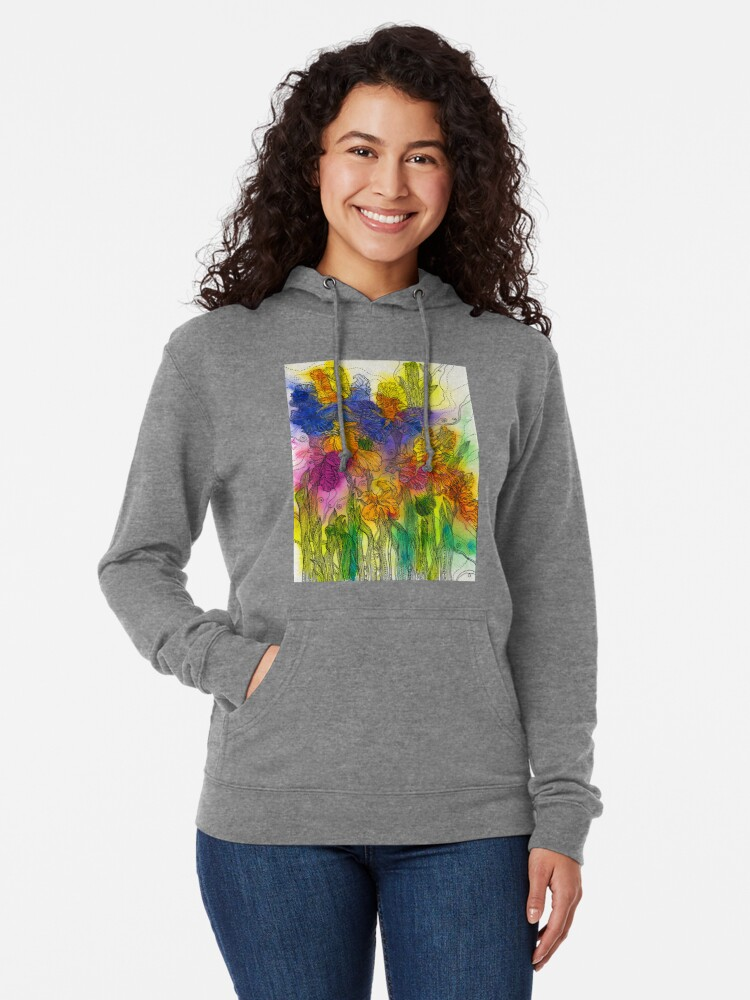 Alternate view of Beautiful Irises Lightweight Hoodie