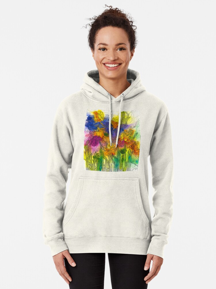 Alternate view of Beautiful Irises Pullover Hoodie