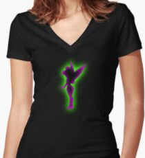 Tinkerbell Silhouette Women's Fitted V-Neck T-Shirt
