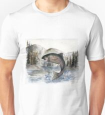 Jumping Rainbow Trout - Watercolor Painting Unisex T-Shirt