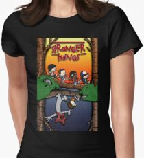 Calvin and Hobbes in the Upside Down Womens Fitted T-Shirt