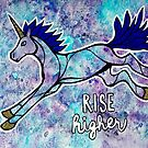 Rise Higher. Original Unicorn Watercolor Illustration. by mellierosetest