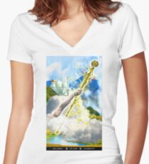 Ace of Wands Women's Fitted V-Neck T-Shirt