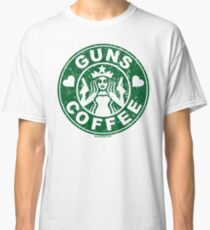 I Love Guns and Coffee! Not the Starbucks logo. Classic T-Shirt