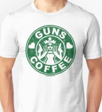 I Love Guns and Coffee! Not the Starbucks logo. Unisex T-Shirt
