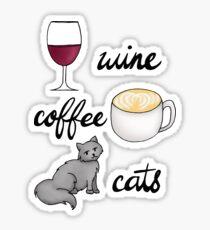 Wine Coffee Cats Sticker