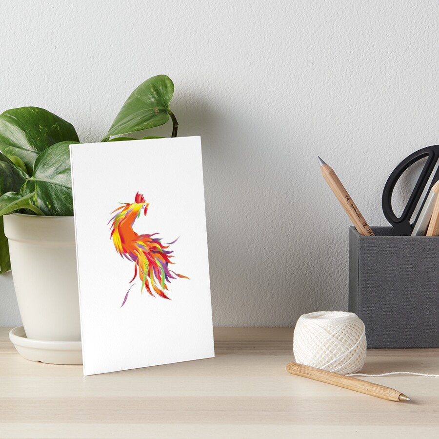 Red Cock Art Board Print