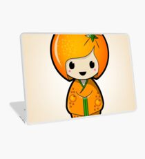 Orange Kokeshi Doll Laptop Skin
