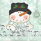 Snowman Winter Let it Snow by peacockcards