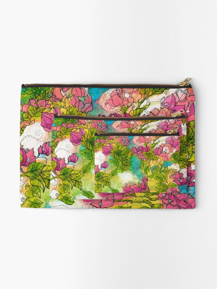 Alternate view of Tropical Flowers Zipper Pouch
