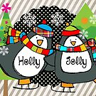 Holly Jolly Christmas Holiday Penguins on Skates by peacockcards