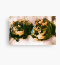 """Friend's Cats""  - Off White Background Canvas Print"