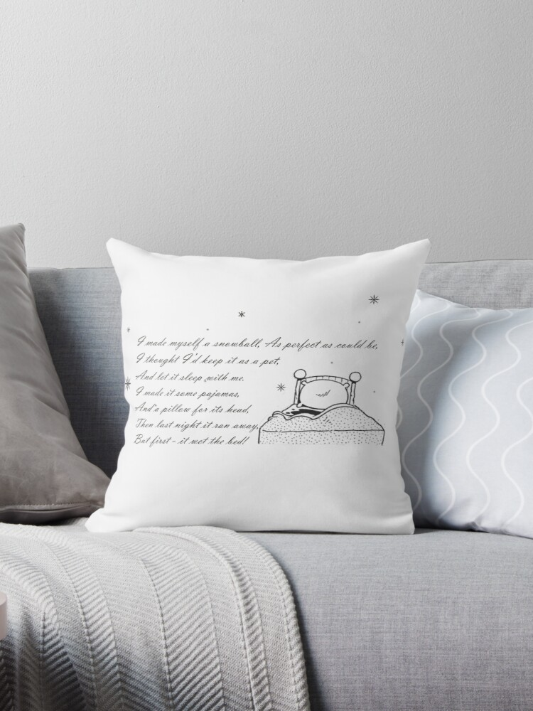 Snowball Snowball Poem Throw Pillow By Gogear