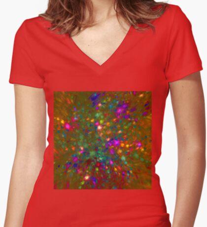 Autumn #fractal art Women's Fitted V-Neck T-Shirt