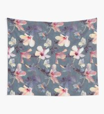 Butterflies and Hibiscus Flowers - a painted pattern Wall Tapestry