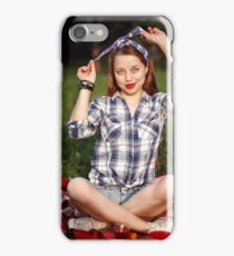 Beautiful Smiling Woman Dressed in Pin Up Style iPhone Case/Skin