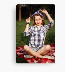 Beautiful Smiling Woman Dressed in Pin Up Style Canvas Print