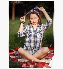 Beautiful Smiling Woman Dressed in Pin Up Style Poster
