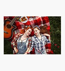 Young Beautiful Smiling Girls Dressed in Pin Up Style Photographic Print