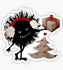 Evil Character Gives Christmas Present Sticker