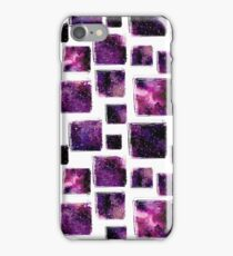 Watercolor Seamless Pattern with Grunge Squares and Bright Nebula iPhone Case/Skin